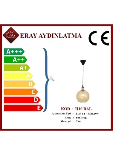 Eray Aydınlatma H10 Bal Rengi Tekli Avize Renkli